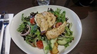 chicken and salad meal
