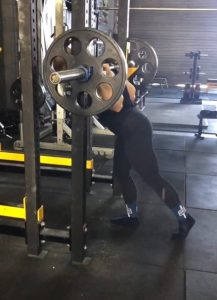 Hannah Altman Squat set up in the gym at Iron Underground