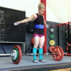 Jenelle Schultz training deadlift 157.5kg